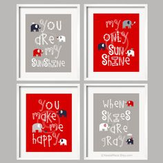Gray Aqua and Red Nursery Decor Prints You Are My by YassisPlace