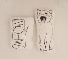 set of 2 pillows cat pillow meow nursery room decor soft toys gift idea for cat lovers home on Etsy, $28.12