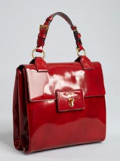 scarlet patent leather turn lock tote bag