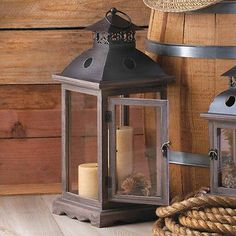 Large Western Decor Rustic Wood Metal Glass Wedding Event Centerpiece Lantern