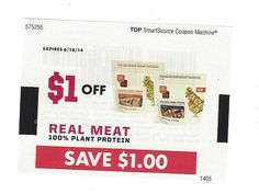 Real Meat 100% Plant protein ~ 06/18/2014 ~ $1.00 on ONE (1)