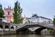 Ljubljana's three bridges from a different angle.
