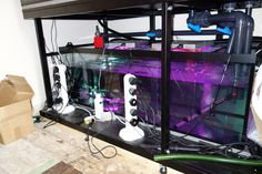 "Build on site tropical setup runing size 96""x30""x30"" with metal frame and 60""x24""x24"" size sump tank.   Prime Aquariums Ltd - Your Custom Fish Tank Manufacturer in the UK"