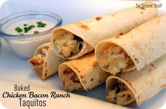 Baked Chicken Bacon Ranch Taquitos.  An easy meal your whole family will love! SixSistersStuff.com #chicken #dinner