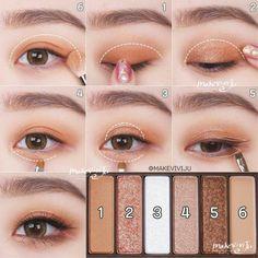 Korean Makeup Tips, Asian Eye Makeup, Makeup Eye Looks, Eye Makeup Steps, Eye Makeup Art, Cute Makeup, Eyebrow Makeup, Eyeshadow Makeup, Makeup Cosmetics