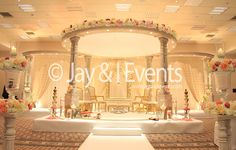 Love this Meghranee Palace Mandap Indian Wedding Decorations, Table Decorations, Wedding Stage Design, Wedding Stuff, Wedding Ideas, Wedding Mandap, Weeding, Receptions, Happily Ever After
