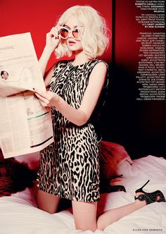 Immy Waterhouse reading newspaper in Vogue Russia Magazine October 2015 Issue Photoshoot