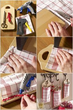 Make Hanging Storage Pockets with Old Cutting Boards and Fabric