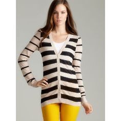 Button Front Striped Cardigan #apparel