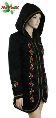 Coat with Polish embroidery Folk Fashion, Fashion Now, Polish Embroidery, Polish Clothing, Polish Folk Art, Couture Sewing, Cool Style, My Style, European Fashion
