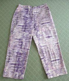 Dismero New Vintage Italian Purple Print Crop Pants Jeans Size 12 46 Retail $295 #Dismero #Jeans