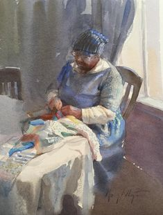 Study for Sewing, by Mary Whyte (American, b. African American Artist, African Art, American Artists, Watercolor Portraits, Watercolor Paintings, Watercolours, Black Artwork, Afro Art, Black Women Art