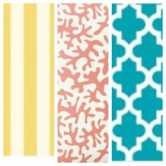 I REALLY like these patterns for the baby room. I would do the yellow for the bedding, coral accents, and teal pattern bed skirt and curtains.