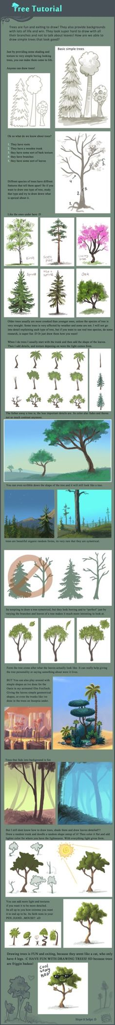 Ignore typos. Here is the promised Tree tutorial Hope it helps! It was lots of fun to do haha xD This is how I do trees, you can also sketch the form before coloring it like Ive done. but its easy ...