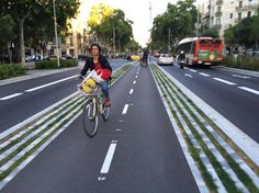 """Center-running bike lane in Barcelona with stepped-curb & grass separation."