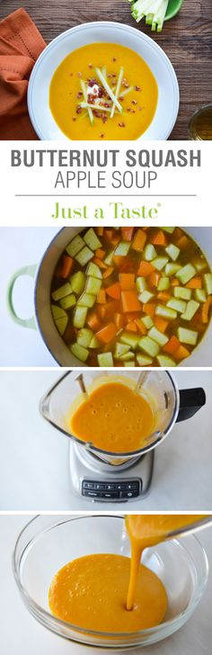 Butternut Squash Apple Soup Recipe Via A Creamy, Yet Cream-Less Quick And Easy Soup Lunch Recipes, Soup Recipes, Vegetarian Recipes, Dinner Recipes, Cooking Recipes, Healthy Recipes, Recipies, Thanksgiving Recipes, Fall Recipes