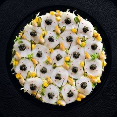 #TBT Scallop and Caviar salad with mango by chef Eric Briffard of restaurant Le Cinq from Paris #TheArtOfPlating