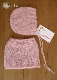 Handmade Props Newborn photography skirt bonnet di RobertaKnits