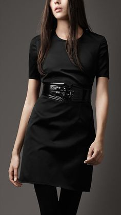 #Burberry - I love the edgy belt paired with this! #LBD