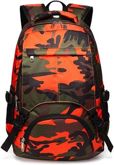 Kids Backpack for Boys Girls Primary School Bags Bookbags for Children (Camouflage Orange) #afflink