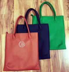 Love these leather totes! They are great for everyday use! Personalize them with your name or monogram!