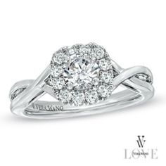 Free Shipping on Vera Wang LOVE Collection 3/4 CT. T.W. Diamond Twist Shank Frame Engagement Ring in 14K White Gold