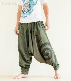 Baggy Harem Pants Textured Cotton Swirl Paint Unisex Aladdin Pants (Green)