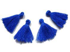 Mini Tassels 5 Pieces Tiny Navy Blue Tassels  by FoxyBeadsCo