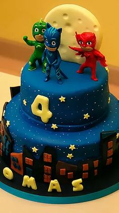 Cake 4U2 Take | PJ Masks Super Why Birthday, Thomas The Train Birthday Party, Pj Masks Birthday Cake, 4th Birthday Cakes, Pjmask Party, Festa Pj Masks, Birthday Cake Decorating, Cake Decorating Tutorials, Cakes For Boys