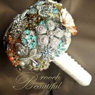 Coral Peach Teal Brooch Bouquet Vintage Web8