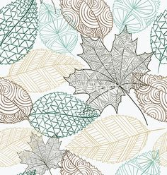 Sketch style leaves seamless pattern background vector 1624497 - by cienpies on VectorStock®