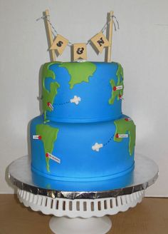World Traveler Wedding Cake / Globe Cake