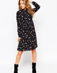 Image 4 of ASOS PETITE Midi Dress with Lace Up Back in Floral Print