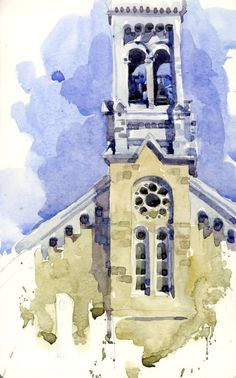 Two Bells by Shari Blaukopf Watercolor Painting Techniques, Watercolor Sketchbook, Watercolor Illustration, Watercolour Painting, Painting & Drawing, Watercolors, Watercolor Architecture, Watercolor Landscape, Watercolor And Ink