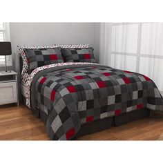 http://www.2uidea.com/category/Xl-Twin-Bedding-Sets-For-College/ teen bed frams sets for boys black | Black Red Block Comforter Sheets Sham Set Dorm Teen Kids Room Girls …