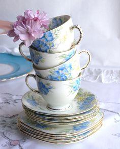 Blue Vintage bone china tea set