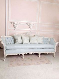 French, Shabby Chic, Sofa,  pale pink walls.  Pastels