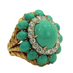 David Webb Turquoise Diamond Gold Ring | From a unique collection of vintage dome rings at https://www.1stdibs.com/jewelry/rings/dome-rings/