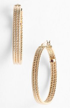 Roberto Coin Ribbed Gold Hoop Earrings available at #Nordstrom