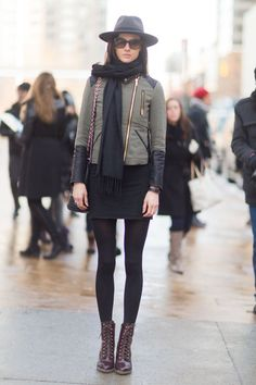 Pin for Later: Flashback Friday: NYFW Street Style Stars Trekked Through the Snow For Fashion NYFW Street Style Day 1 A cool representation of the downtown girl. Source: Melodie Jeng/The NYC Streets