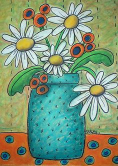 "9x12"", Daisies, original oil pastel, copyrighted, www.karlagerard.com"