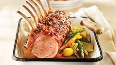 Maple-roasted rack of pork Pork Recipes, Gourmet Recipes, Healthy Recipes, Rack Of Pork, Valrhona Chocolate, Gourmet Food Gifts, Roasted Cauliflower, Pork Roast, Main Dishes