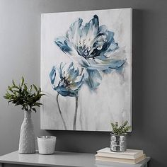 Kirkland's - Light La Fleur II Canvas Art Print You are in the right place about home decor bedroom Here we offe - Flower Canvas, Flower Art, Flower Painting Canvas, Blue Painting, Diy Canvas Art, Canvas Art Prints, Framed Prints, Painting Inspiration, Watercolor Paintings