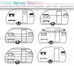 CAMPER VECTOR Original Hand Drawn Clipart Pack This Digital Clipart pack includes hand illustrated retro campers! This pack includes: * A Retro Campers, Retro Caravan, Vintage Campers, Happy Campers, Applique Patterns, Quilt Patterns, Applique Quilts, Camper Clipart, Camper Drawing
