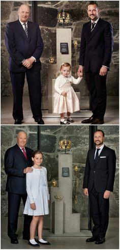 King Harald, Crown Prince Haakon and Princess Ingrid Alexandra