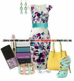 Floral print dress... Mint color shoes... Makeup... Yellow bag... Love it all!!!