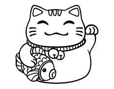 Maneki-neko abundance coloring page Maneki Neko, Neko Cat, Kitty Cats, Lucky Cat Tattoo, Kawai Japan, Sketch Note, Kawaii Doodles, Mini Tattoos, Cat Drawing