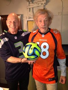 Sir Patrick Stewart and Sir Ian McKellen Prepare for Super Bowl XLVIII ... Go Hawks!!