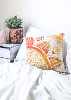 Add a hypnotic splash of color to your bed or living room with these bold, orange and yellow mandala patterned cushion covers. Mix and match these with our Medallion Tapestries to really set the mood!