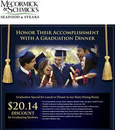 Pinned May 18th: $20 bucks off your graduates meal at Mc#Cormick & Schmicks seafood & steaks #coupon via The #Coupons App